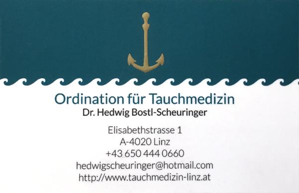 Esca Visitenkarte Tauchmedizin Linz 2018